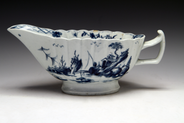 1098 - Worcester fluted sauceboat c 1758