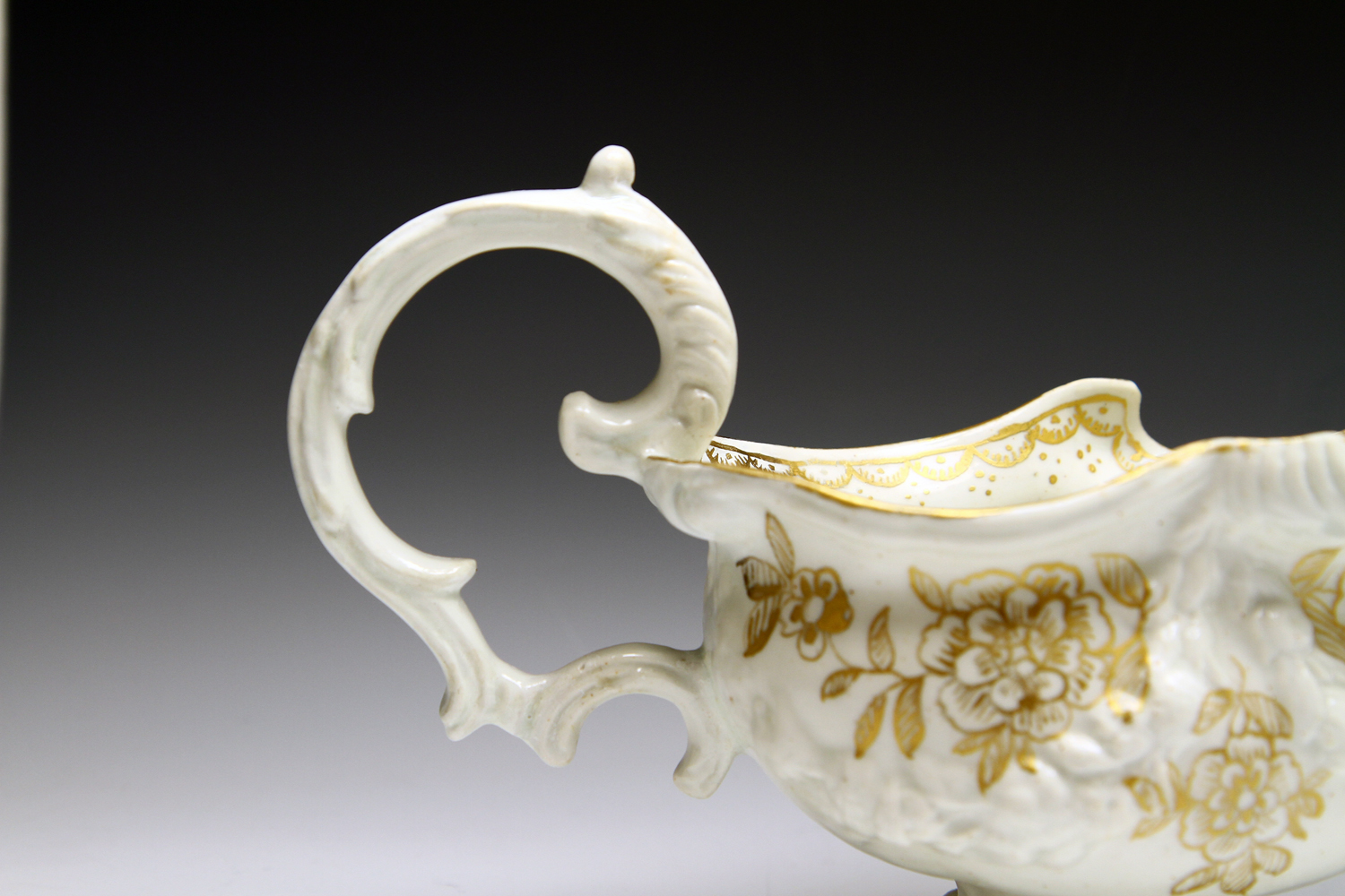 1029 - Bow rococo sauceboat c 1750, replacement handle