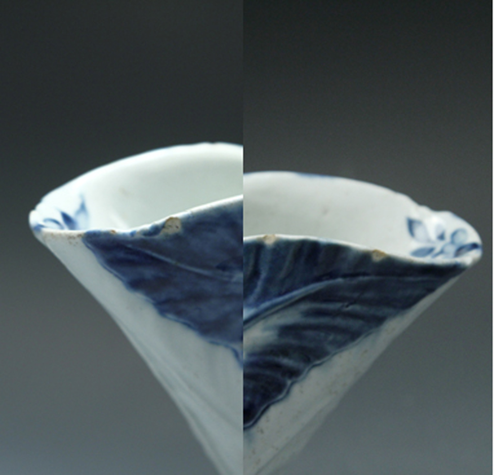 1035 - Rare Worcester blue and white cos lettuce sauceboat c 1753-5